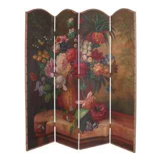 Hand-Painted Antique French Floral Folding Screen