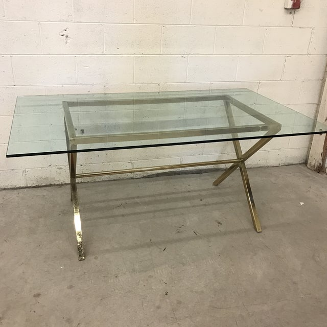 Contemporary Brass & Glass Dining Desk Table - Image 11 of 11