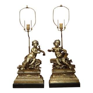 19th Century French Bronze Cherub Lamps - A Pair