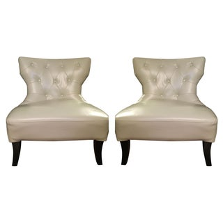Cream Tufted Leather Chairs - A Pair