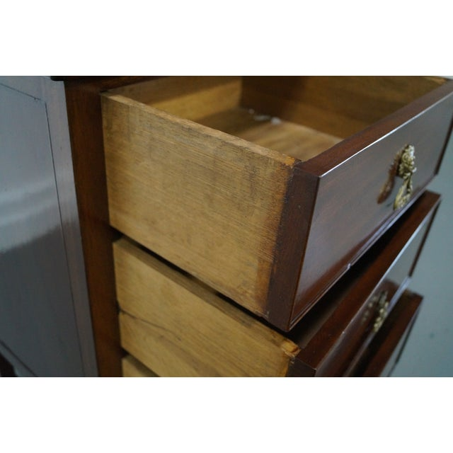 Antique Mahogany Regency Style 3 Drawer Nightstand - Image 6 of 10