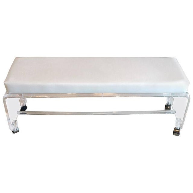 Lucite White Leather Waterfall End of Bed Bench Seat - Image 10 of 10