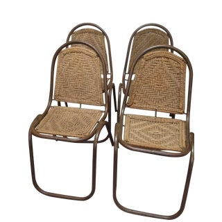 Vintage Weave Rope Stacking Chairs - Set of 4
