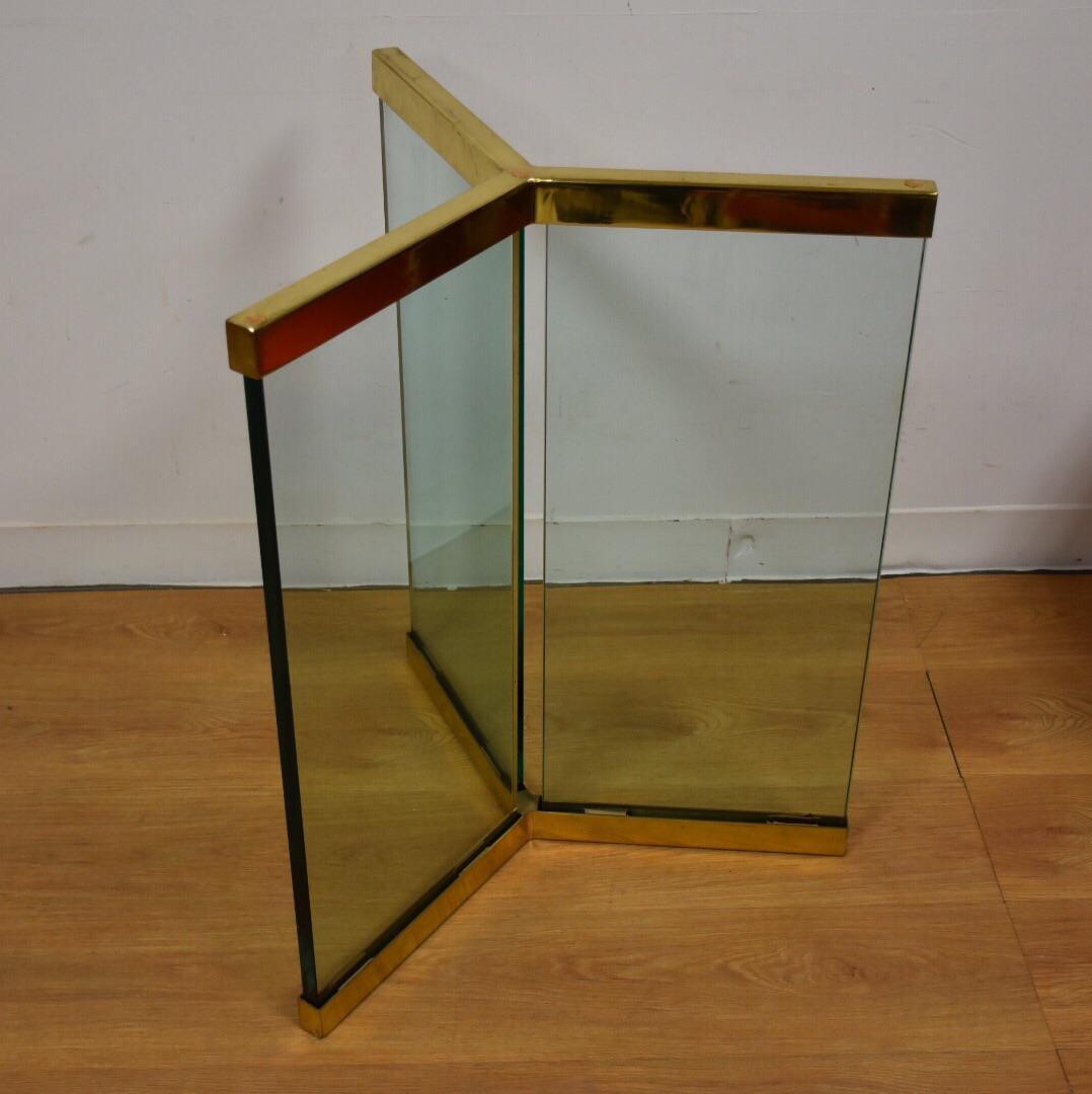 image of leon rosen pace modern glass u0026 brass pedestal table base - Pedestal Table Base