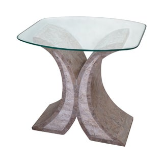 Maitland Smith Tessellated Stone Glass Top Table