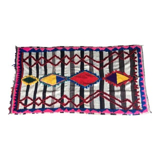 "Vintage Moroccan Kilim Boucherouite Boho Rug 4'8"" x 9'"