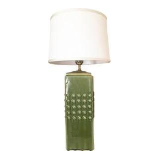 Chartreuse Square Hobnail Table Lamp