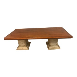 Rustic Wood Pedestal Dining Table