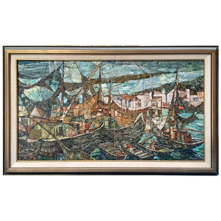 Mosaic-Style Harbor Oil Painting