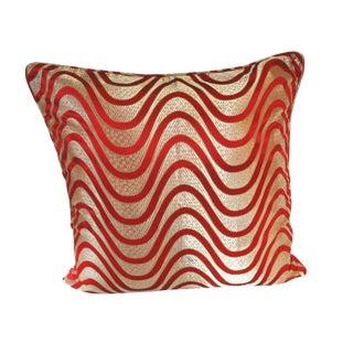 Red Wave Silk Brocade 26x26 Pillow