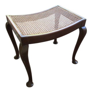 Queen Anne Caned Mahogany Stool