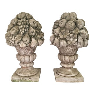 Pair of Huge Antique Fruit Basket Cement Garden Finials