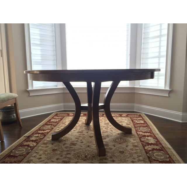 Round Oak Dining Set with 2 Leaves & 6 Chairs - Image 4 of 9
