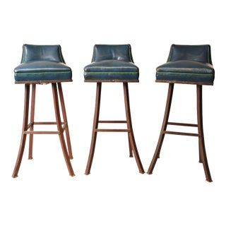 Vintage Brass Swivel Bar Stools - Set of 3