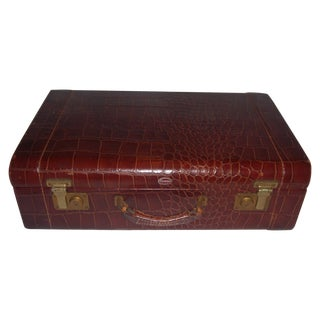 Vintage Towne Faux Alligator Leather Suitcase
