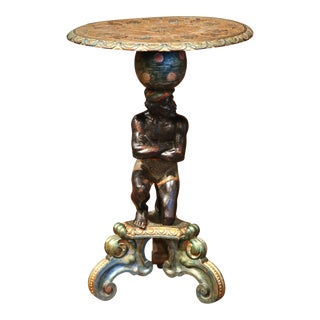 19th Century Italian Carved Polychrome and Gilt Blackamoor Pedestal Table