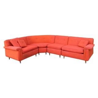 Mid-Century Modern Orange Four Piece Sectional