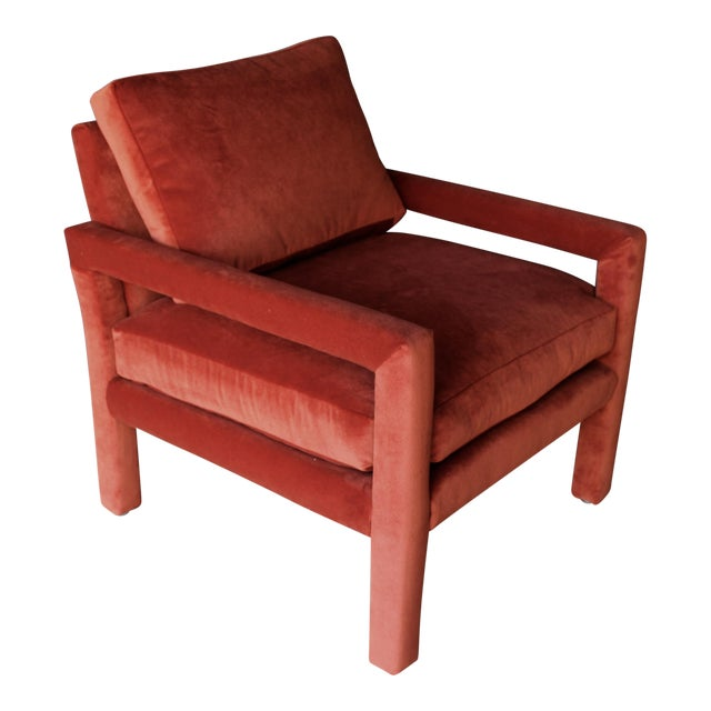 Reupholstered 1970s Mid Century Persimmon Velvet Milo Baughman Club Chair - Image 1 of 7