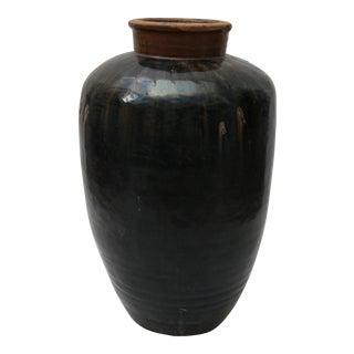 Mid-Century Brown Glazed Urn