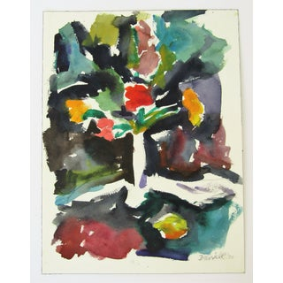Original Floral Watercolor by George Daniell, 1990