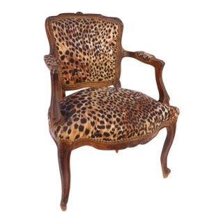Antique French Leopard-Pattern Accent Chair