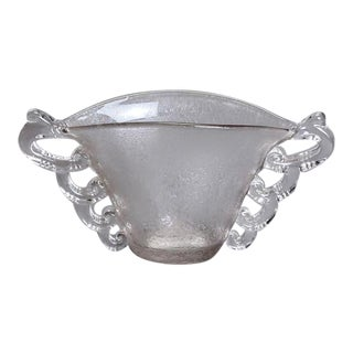 Deco Era Clear Art Glass Vase with Handles