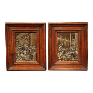 Pair of 19th Century French Interior Scenes Bronze Plaques in Walnut Frames