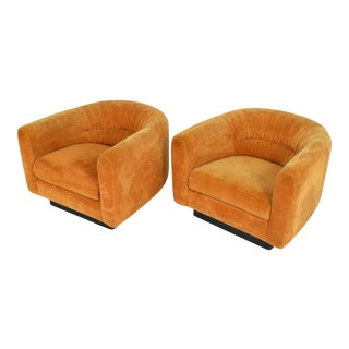 Pair of Milo Baughman Style Lounge Chairs by Metropolitan Furniture