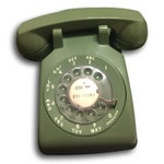 Image of Mid-Century Modern Green Rotary Dial Phone