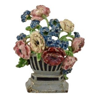 1930s Hubley Cast Iron Poppies in an Urn Doorstop