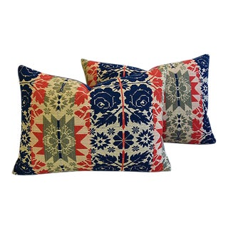 American 19th-C. New England Coverlet Feather/Down Pillows – Pair