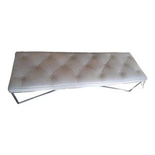 Tufted Lichen Gray Leather Rectangular Bench