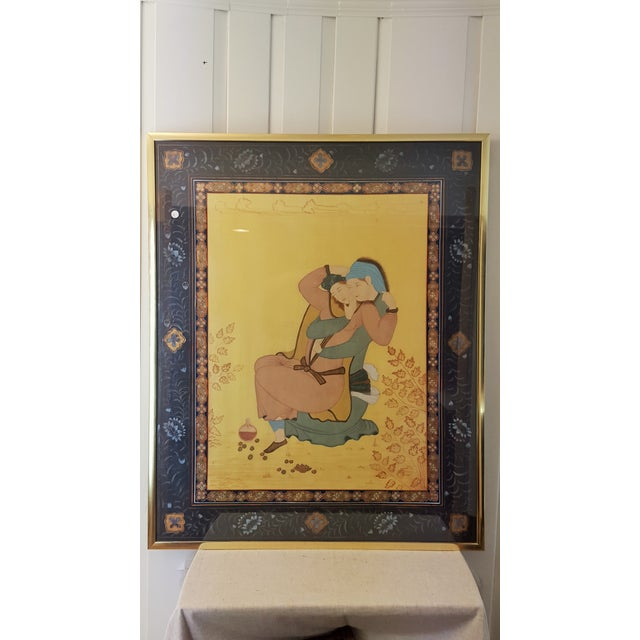 Persian Painting on Silk - Female Lovers - Image 4 of 5