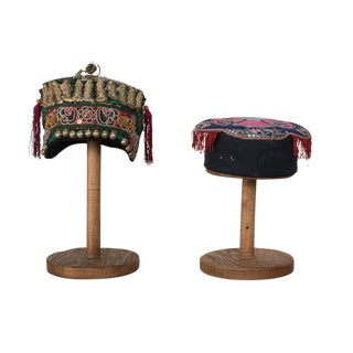 Sarried Ltd. Antique Hand Embroidered Hats - A Pair