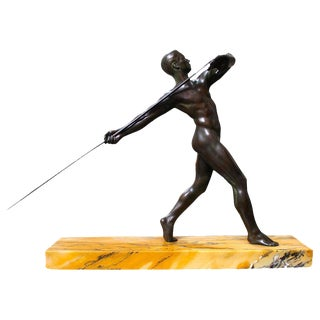 French Art Deco Bronze Figure with Javelin on Sienna Marble Base