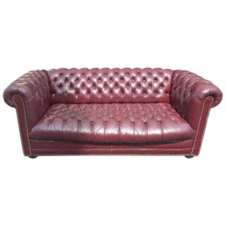 Vintage Eggplant Leather Tufted Chesterfield Sofa
