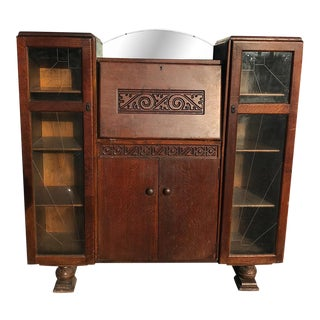 Antique English Art Deco Tiger Oak Side by Side Bookcase Drop Front Secretary Desk