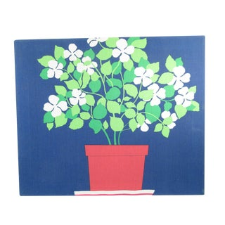 Vintage Potted Plant Fabric Art Wall Hanging