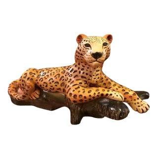 Large Plaster Cheetah Sculpture, Signed