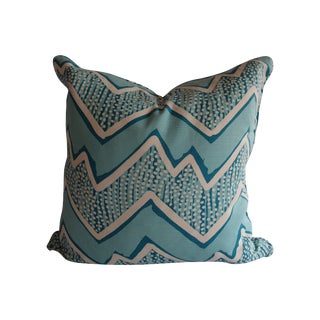 Quadrille Fabric Turquoise Zig Zag Pillow