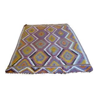 Purple & Yellow Geometric Boho Chic Kilim Rug - 5' X 7'
