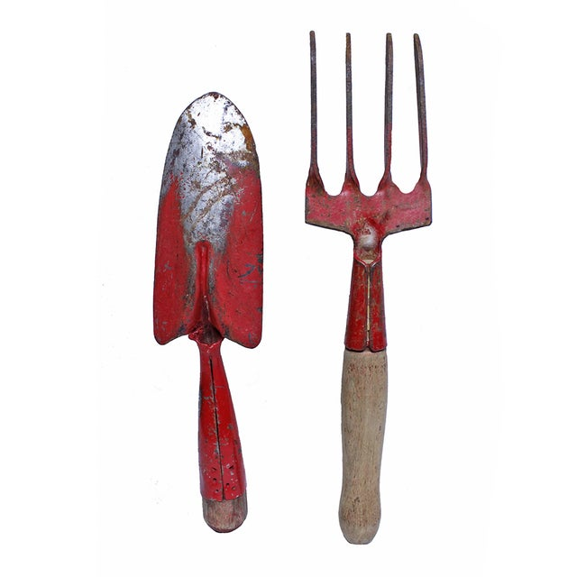Vintage Red Garden Trowel and Hand Rake - 2 - Image 3 of 3