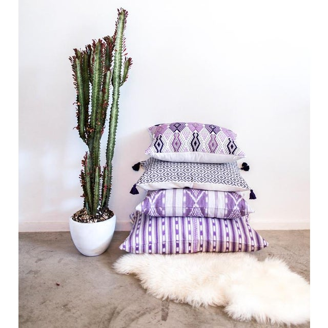 Handwoven Mexican Purple Pillow - Image 5 of 5