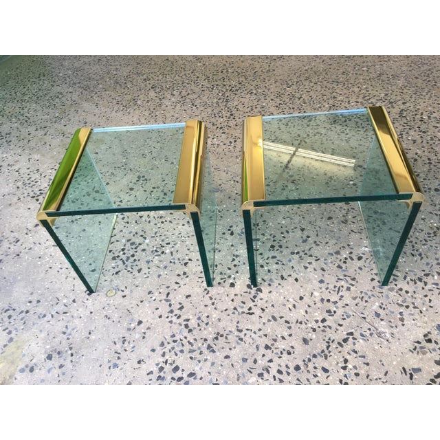 Pace Collection Brass & Glass End Tables- A Pair - Image 2 of 8