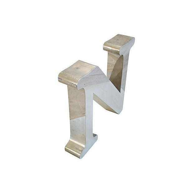 Image of 1970s Stainless Steel Marquee Letter N