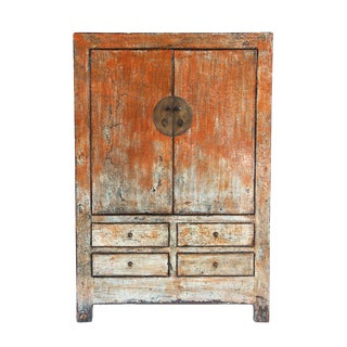 Vintage Distressed Persimmon Cabinet