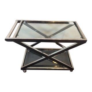 Contemporary Chrome & Glass Two-Tier Bar Cart