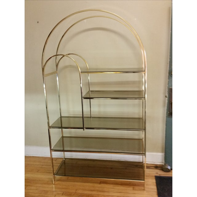 Hollywood Regency Double Waterfall Brass Etagere - Image 2 of 10