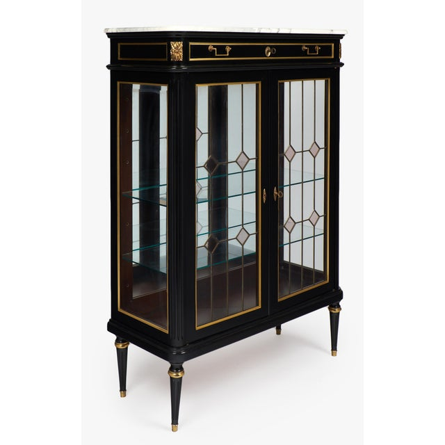 French Louis XVI Marble-Top Vitrine or Bookcase - Image 2 of 10