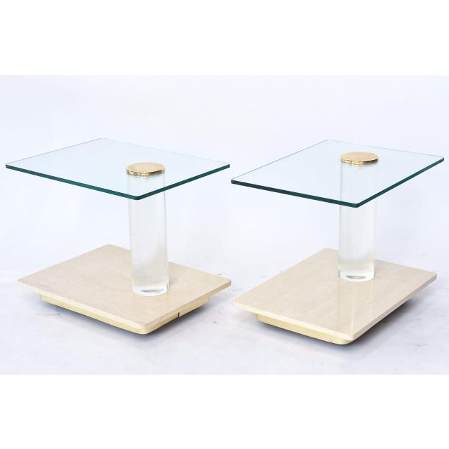 Pair of American Modern Travertine Marble, Lucite and Glass Tables Lion in Frost - Image 6 of 7